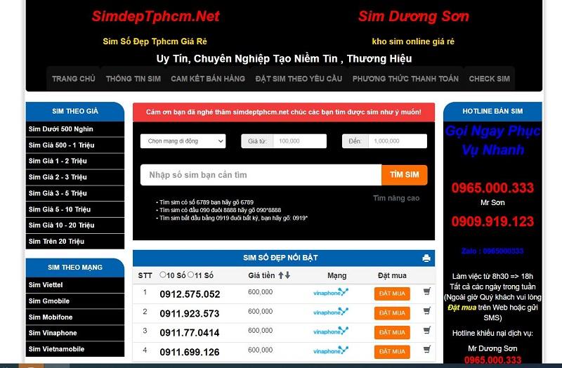 Web Sim Đẹp TPHCM