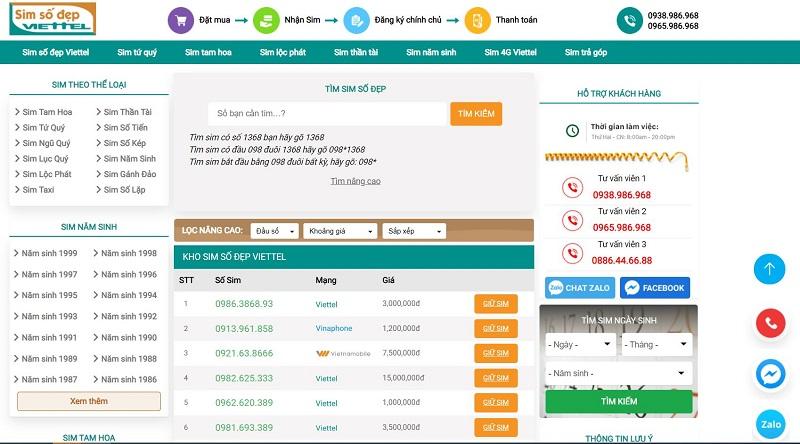 Web Sim Số Đẹp Viettel nơi sim đẹp giá rẻ tphcm uy tín