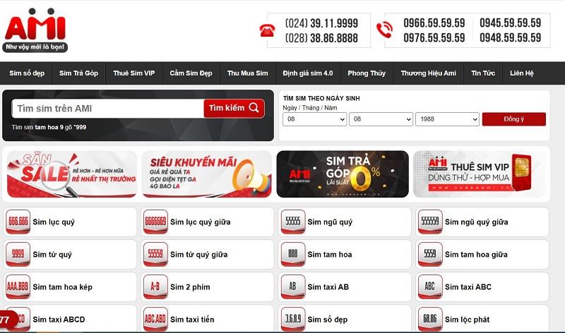 sim số đẹp giá rẻ tphcm ở Web Sim AMI